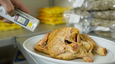 Lebensmittelkontrolleur untersucht ein Brathähnchen