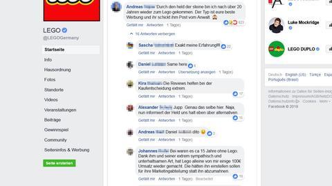 Screenshot Legoseite bei Facebook: Lego erntet auf seiner Facebook-Seite für seine Aktion Unverständnis