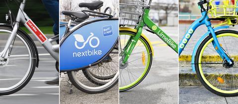 Fotocollage aus Bildern von Mietfahrraedern der Marken Call a Bike, LimeBike, nextbike, BYKE