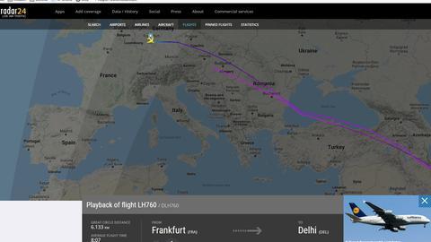 Flugkurve des Lufthansa-Fliegers, der auf dem Weg von Frankfurt nach Delhi umgedreht ist