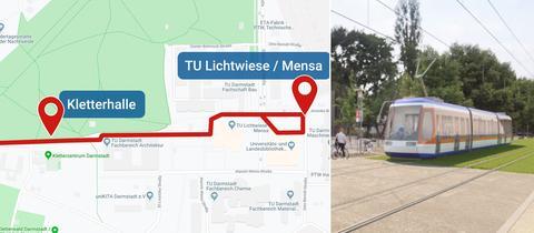 Collage: Geplante Trasse auf Karte und Bagger bei Beginn der Bauarbeiten