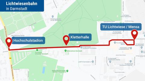 Strecke der geplanten Lichtwiesenbahn in Darmstadt