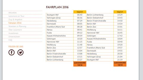 Fahrplan des Locomore-Bahnunternehmens