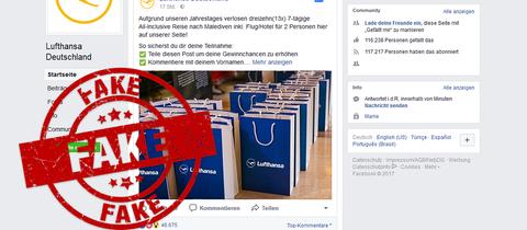 Lufthansa-Fake-Seite auf Facebook