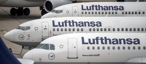 Abgestellte Passagiermaschinen der Lufthansa am Mittwoch auf dem Frankfurter Flughafen.