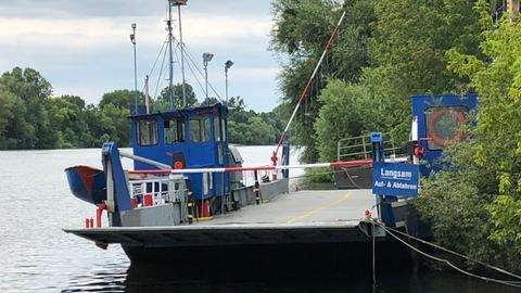 Die Mainfähre hat sich am Ufer bei Mühlheim festgefahren.