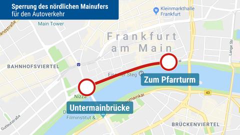 Karte von einem Teil der Frankfurter Innenstadt, wo Autos ab August eine Straße nicht mehr befahren dürfen