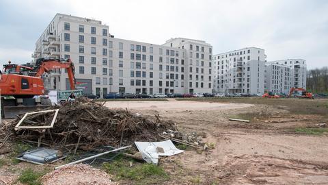 Ein Neubau-Häuserblock auf dem Frankfurter Rebstockareal