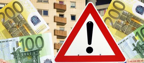 """Symbolbild: Schild """"Mietpreis"""" vor Wohnungen"""