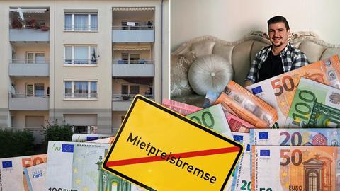 Collage zur Mietpreisbremse aus Häusern, dem Protagonisten, Geld und einem Straßenschild