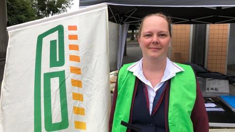 Nicole Noll beim Streik der GDL