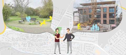 Die Grafik zeigt zwei streitende Figuren auf einer Karte von Nieder-Mörlen. In den Sprechblasen sind ein Bild einer Grünfläche und ein Bild einer Baustelle zu sehen.