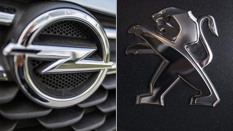 Ein Opel- und ein Peugeot-Logo.
