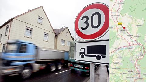 Lastwagen fährt durch Tempo-30-Zone, Karte mit Verlauf der B252 nördlich von Cölbe