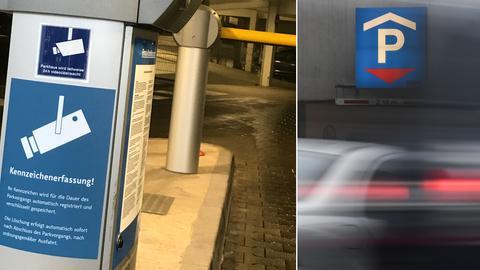 """Schild mit der Aufschrift """"Kennnzeichenerfassung"""", Einfahrt ins Parkhaus"""