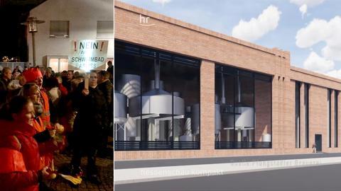 Vor dem Pfungstädter Rathaus kam es am Abend zu Protesten gegen die Brauerei-Pläne