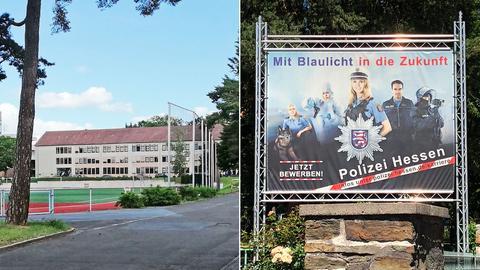 """DIe Bildkombination zeigt ein Foto eines Gebäudes der Polizeischule, die saniert werden soll und ein Foto einer Werbetafel für Polizeinachwuch mit dem Slogan """"Mit Blaulicht in die Zukunft""""."""