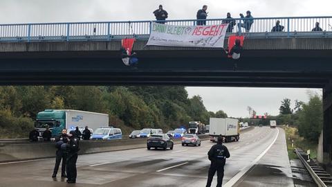Proteste an der A5 in Mittelhessen