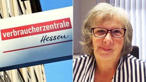 Zu sehen ist ein Schild der Verbraucherzentrale Hessen und ein Portrait von Frau Raab