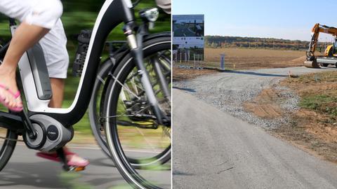 Ein Fahrrad sowie die Baustelle für den Radschnellweg.