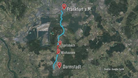 Streckenverlauf des Radschnellwegs zwischen Frankfurt und Darmstadt (blau). Da erste Teilstück zwischen Egelsbach und Wixhausen ist rot markiert.