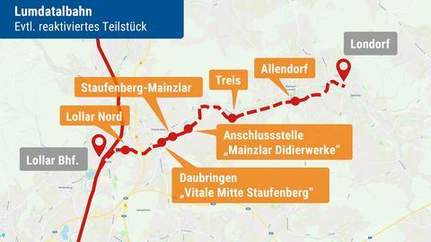 Karten mit den möglicherweise reaktivierten Bahnstrecken in Hessen