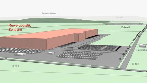 Skizze vom geplanten Rewe-Logistikzentrum in Wölfersheim-Berfelden