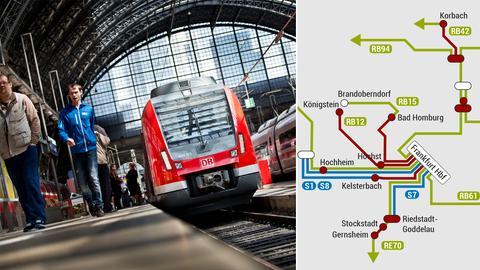 Collage S-Bahn und Plan mit Behinderungen im RMV-Netz