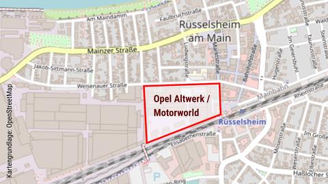 Die Karte zeigt das Areal des Opel Altwerks.