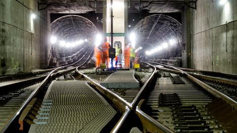 Bauarbeiten im S-Bahn-Tunnel in Frankfurt
