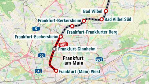 Geplanter S6-Ausbau zwischen Frankfurt West und Bad Vilbel