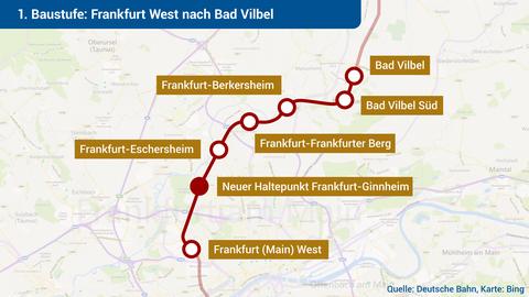 Die 1. Baustufe verläuft von Frankfurt West nach Bad Vilbel