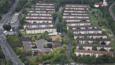 Wohnblocks Sportsfield Hanau aus der Luft fotografiert