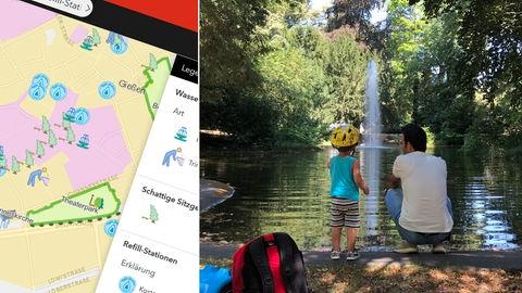 """Ein Mann und sein Sohn am Teich in der """"Grünanlage Ostanlage"""", Screenshot des Stadtplans."""