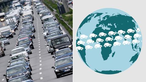 Collage: Autos im Stau und Grafik mit Weltkugel, um die Autos fahren