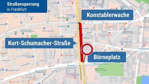 Straßensperrung in der Kurt-Schumacher-Straße in Frankfurt
