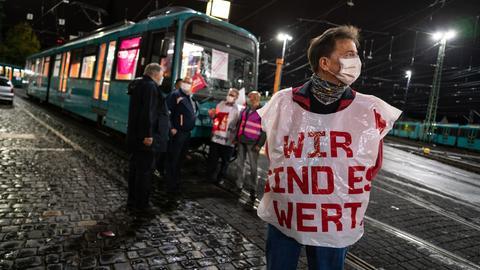 Streikposten in Frankfurt