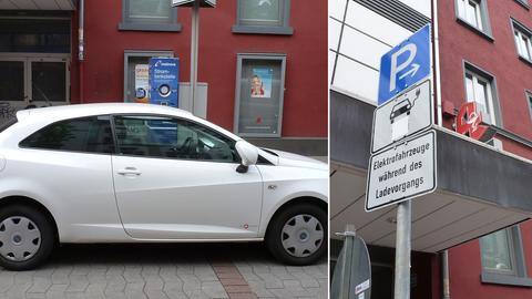Zugeparkte Stromtankstelle an der Berger Straße
