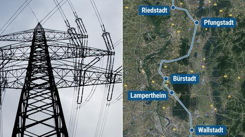 """Stromtrasse """"Ultranet"""", Streckenverlauf durch Südhessen"""
