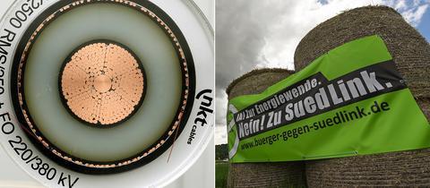 Erdkabel für Stromtrassen, Protestbanner gegen Suedlink auf Strohballen