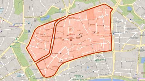 In diesem Bereich soll eine Tempo-30-Zone für Frankfurt entstehen.