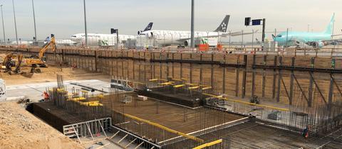 Die Baustelle am Terminal 3 am Flughafen Frankfurt