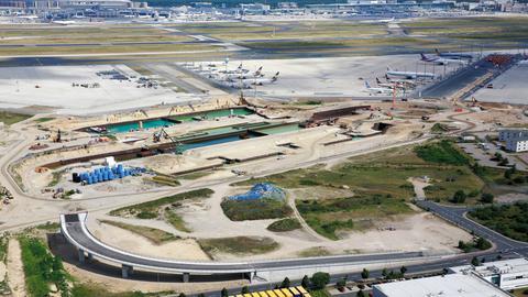 Baustelle für Terminal 3 am Frankfurter Flughafen
