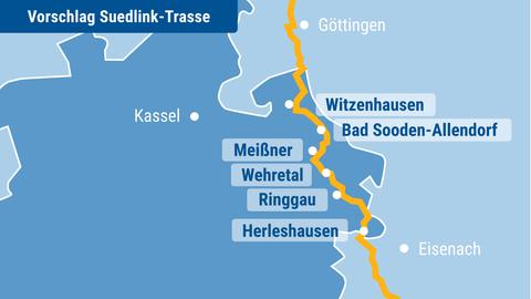 Die Grafik zeigt eine Karte, auf welcher ein möglicher Trassenverkauf in Nordhessen eingezeichnet ist.