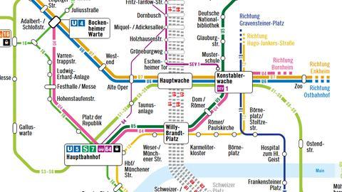 U-Bahn-Sperrung, VGF-Karte, Ausschnitt