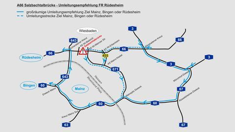 Umleitungsempfehlung in Fahrtrichtung Rüdesheim