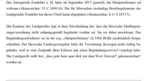 Frankfurter Landgericht erklärt Mietpreisbremse für unwirksam