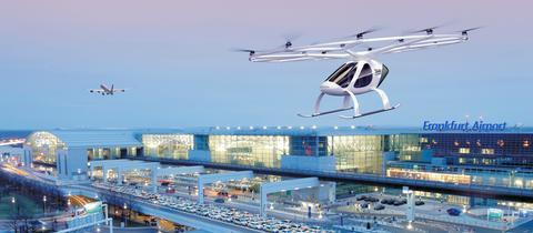 So könnte das Flugtaxi - ein sogenannter Volocopter - am Flughafen Frankfurt aussehen.