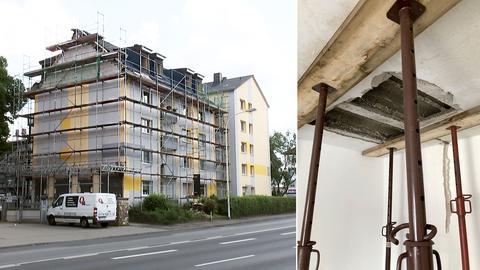 Zu sehen ist das Gebäude, in dem der Deckendurchbruch geschehen ist, von außen wie von innen.
