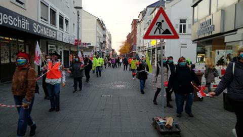 Verdi-Protestaktion in Rüsselsheim